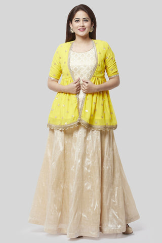Victorian Ivory Lehenga Choli with Sunshine Embroidered Georgette Jacket