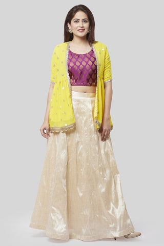 Victorian Purple Lehenga Choli with Sunshine Embroidered Georgette Jacket