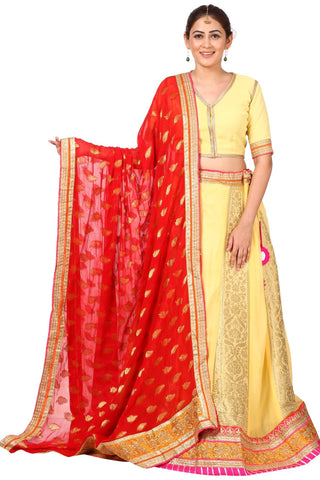 Yellow Banarsi Lehenga Choli with Red Georgette Dupatta