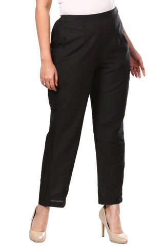 Black Straight Cotton Silk Pants