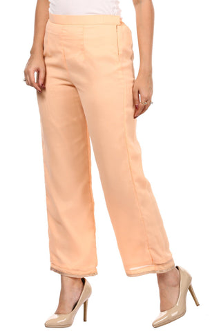 Peach Georgette Straight Pants