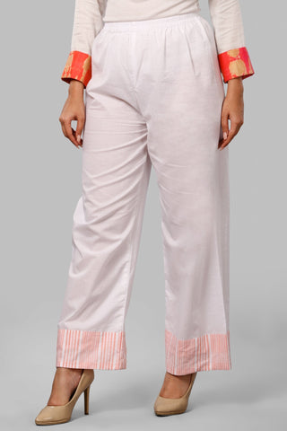Peach Stripes Straight Palazzo