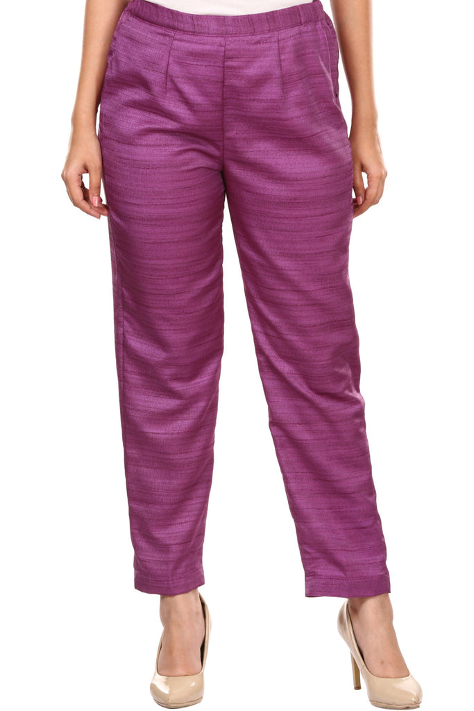 anokherang Palazzo Purple Straight Silk Pants