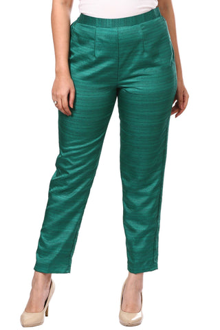Rama Green Khadhi Silk Straight Pants