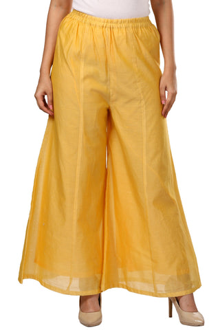 Yellow Chanderi Flared Palazzo