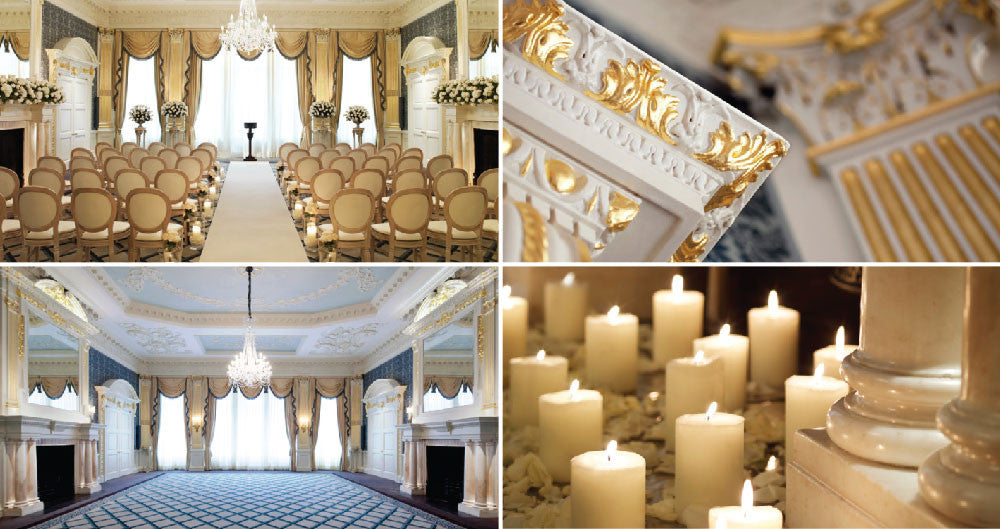 Claridge's Drawing Room wedding reception space and details