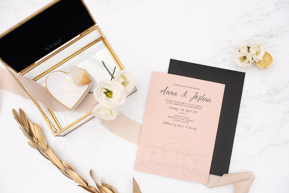 Chiswick House blush wedding stationery