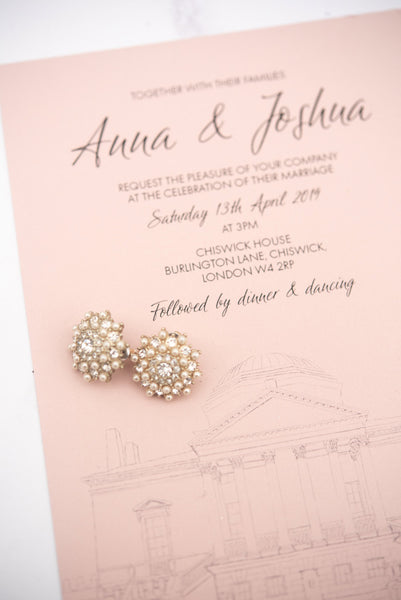 Blush Chiswick House wedding invitation