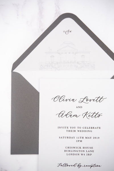 Grey Chiswick House wedding invitation envelope liner