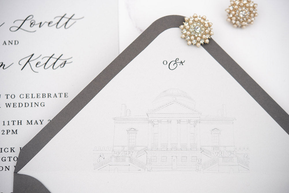 Chiswick House wedding invitation