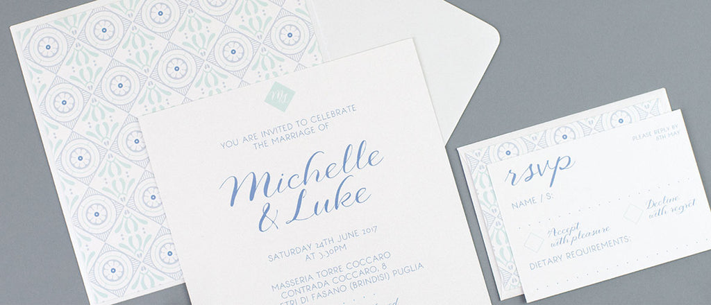 Dimitria Jordan Geo Riviera wedding stationery