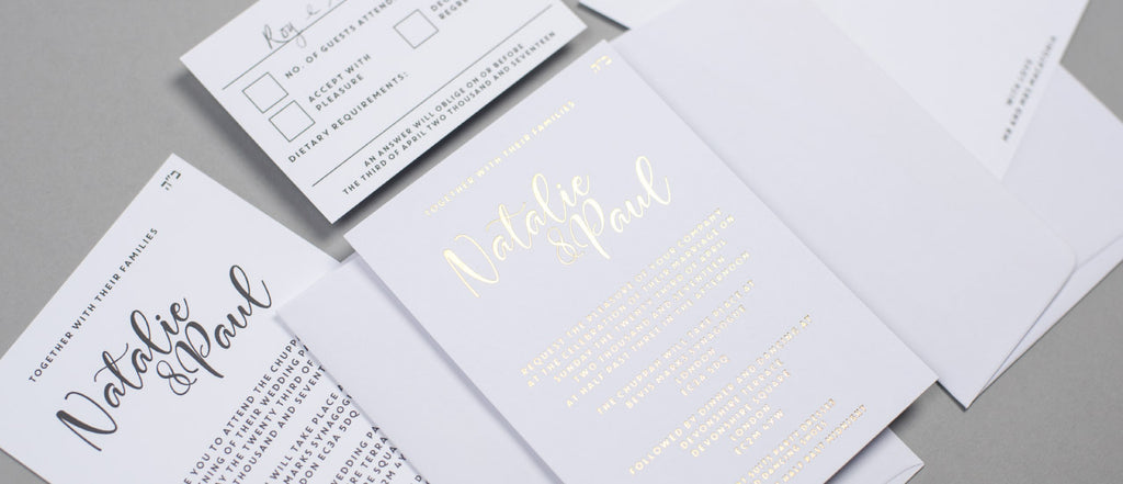 Natalie and Paul bespoke wedding stationery