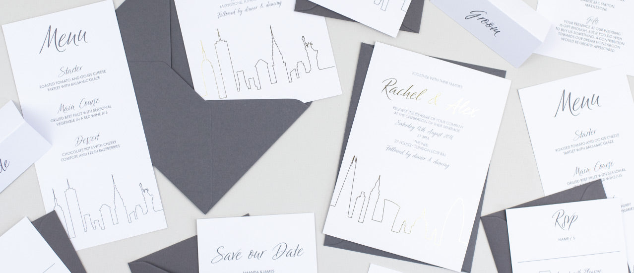 London Skyline wedding invitations