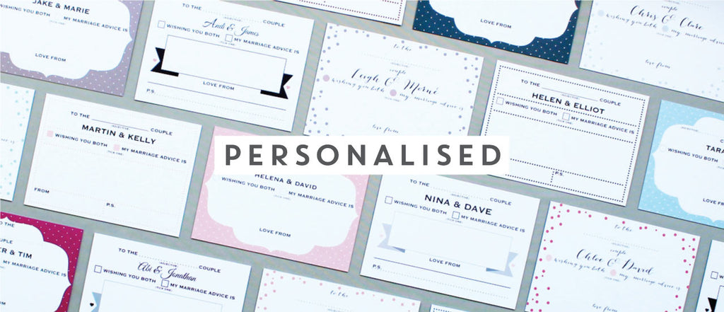 Personalised wedding advice cards
