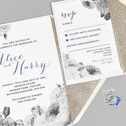 Anthi Marble wedding stationery with gold glitter lined envelope