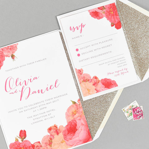 Anthi wedding stationery with gold glitter lined envelope