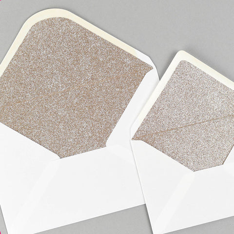 Champagne gold glitter lined white envelope