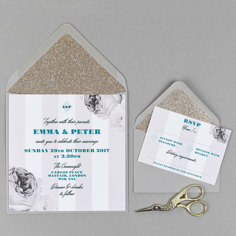 Bella Mono wedding stationery with gold glitter lined grey envelope