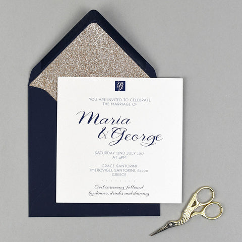 Geo Goddess wedding invitation with gold glitter lined navy envelope