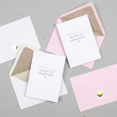Will you be my Maid of Honour card with glitter-lined envelope