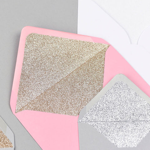 Glitter lined envelopes various colours