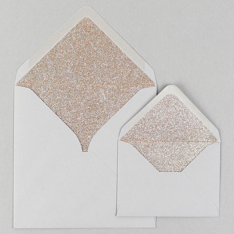 Champagne gold glitter lined grey envelope