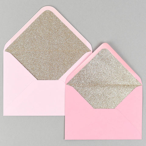 Champagne gold glitter lined pink envelope