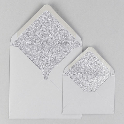 Silver glitter lined dove grey envelope