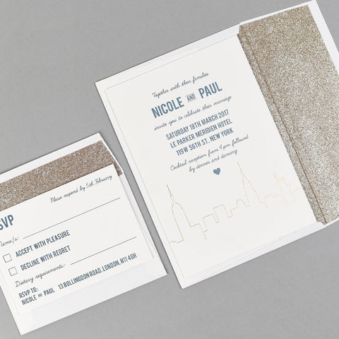Letterpress wedding stationery with gold glitter lined envelope