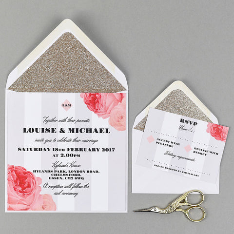 Bella Rosa wedding stationery with gold glitter lined envelope