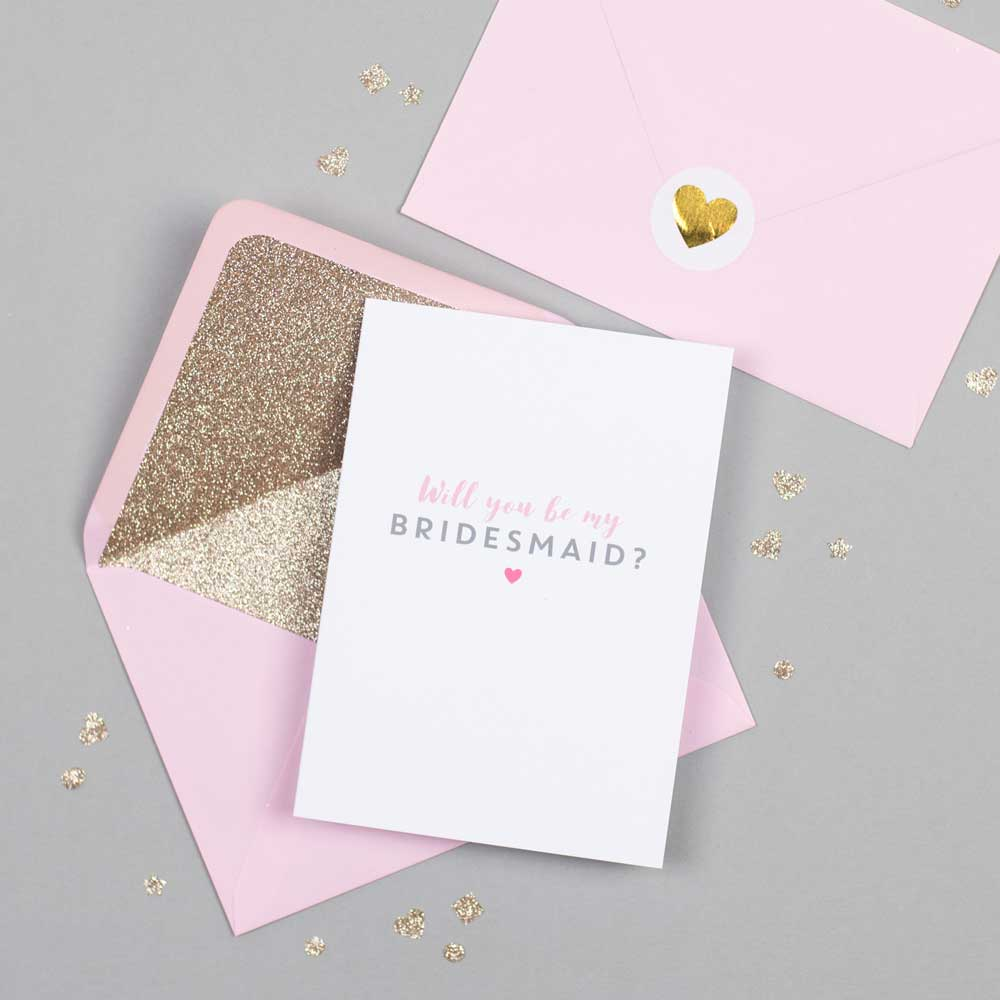Will you be my Bridesmaid card with pink glitter-lined envelope