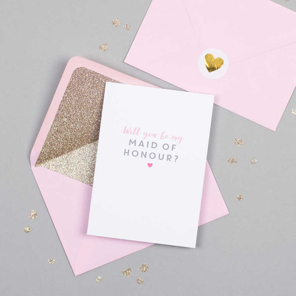 Will you be my Maid of Honour card with pink glitter-lined envelope