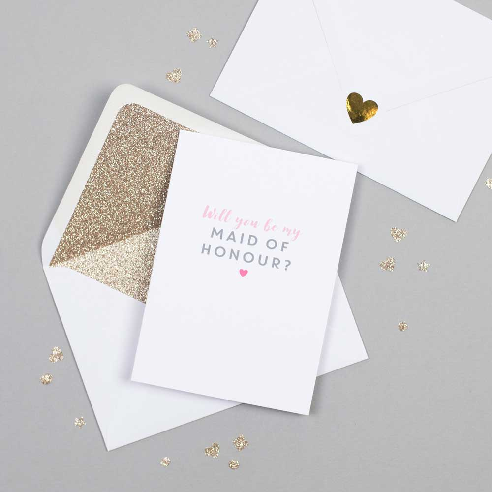 Will you be my Maid of Honour card with white glitter-lined envelope