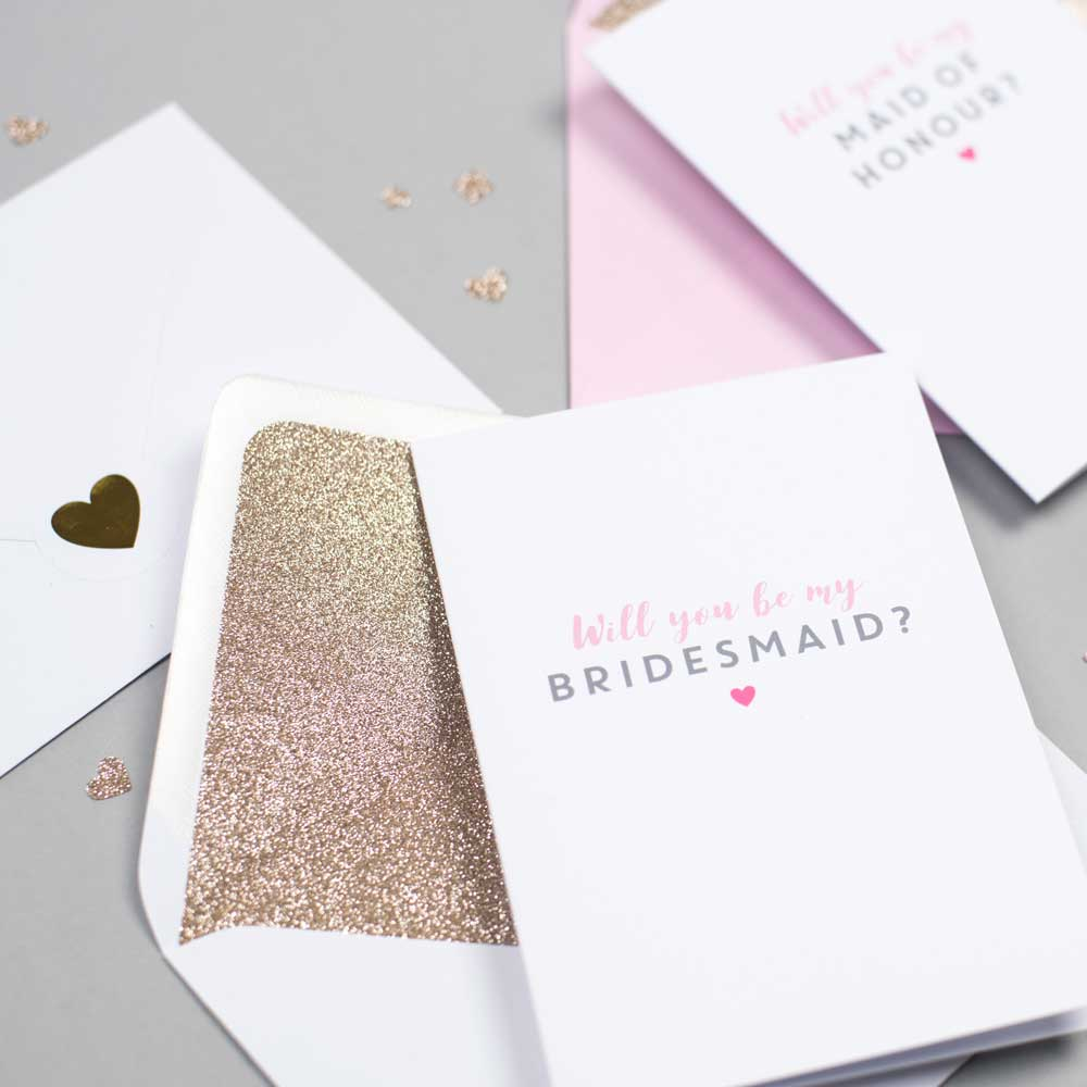 Will you be my Bridesmaid card with glitter-lined envelope
