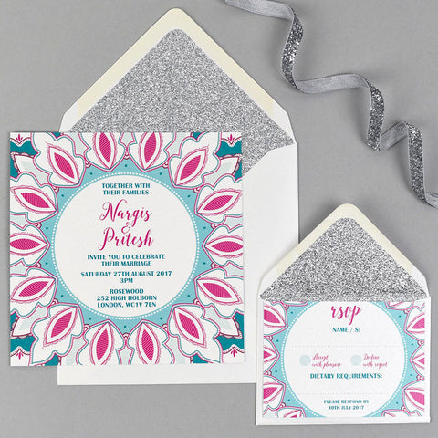 Lotus wedding stationery with silver glitter lined envelope