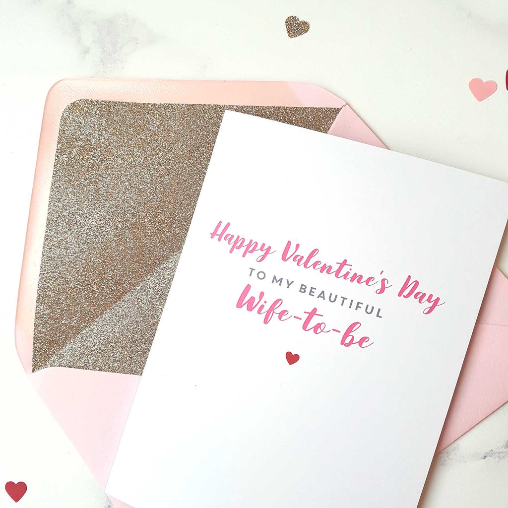 Wife-to-be valentines day card with gold glitter-lined pink envelope