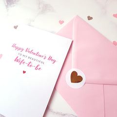 Beautiful wife-to-be valentine's card with gold glitter-lined pink envelope
