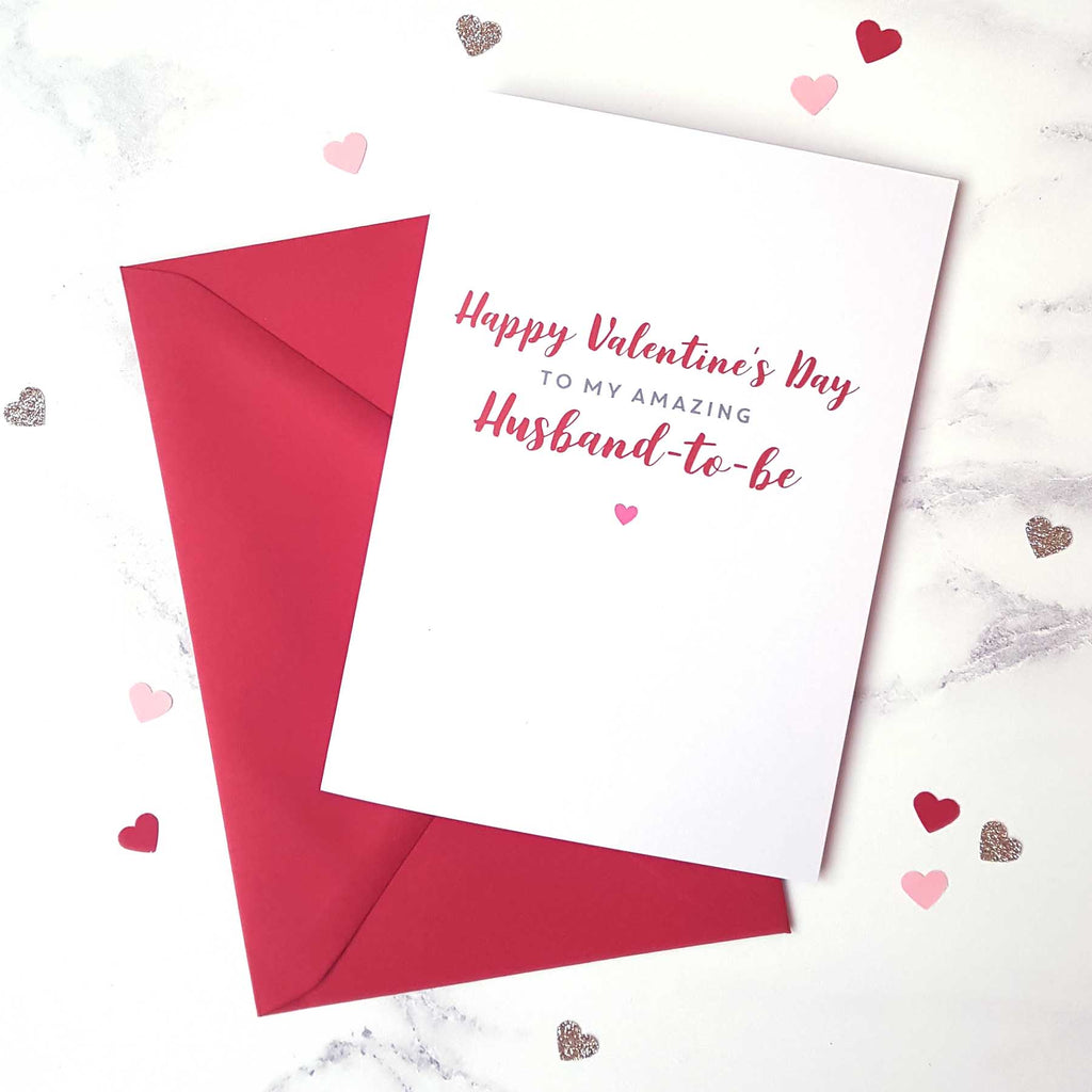 Amazing Husband-to-be Valentine's Day card with red envelope