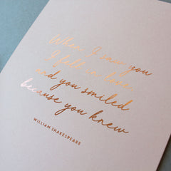 'When I saw you...' foil print