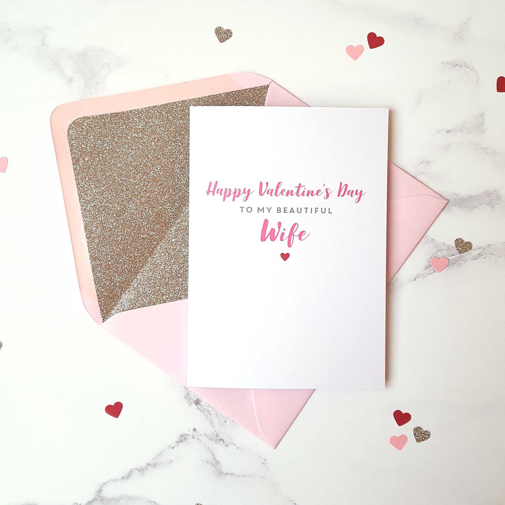 Beautiful wife valentine's card with gold glitter-lined pink envelope