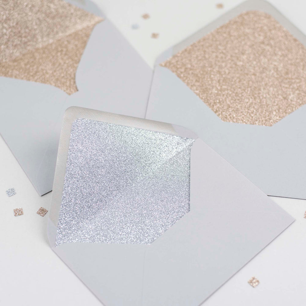 Dove Grey glitter-lined envelopes - Pack of 10