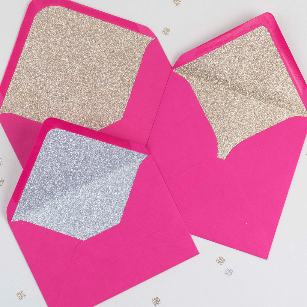 Fuchsia Pink glitter-lined envelopes - Pack of 10
