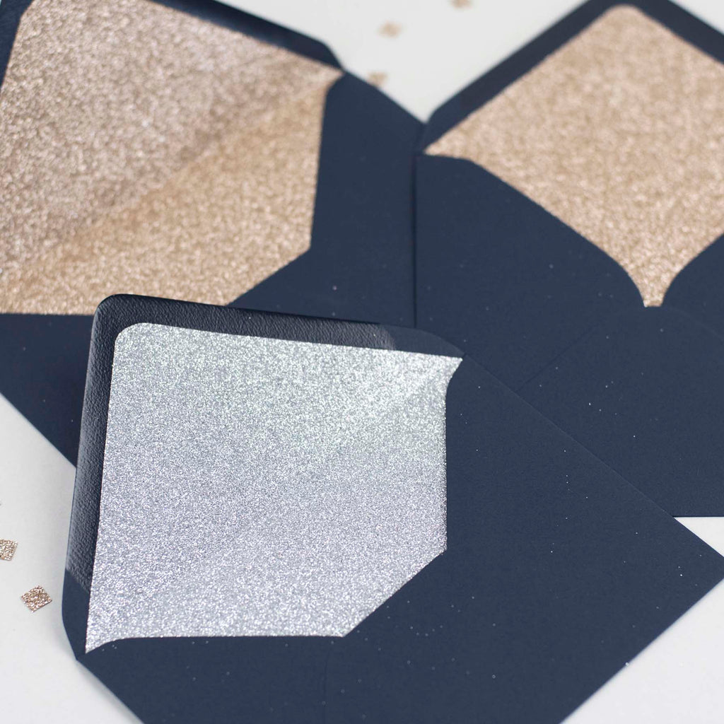 Navy glitter-lined envelopes - Pack of 10