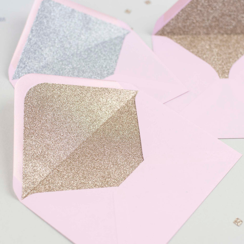 Candy Pink glitter-lined envelopes - Pack of 10