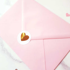 candy pink envelope with heart foil sticker