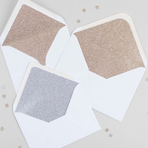 White glitter-lined envelopes - Pack of 10