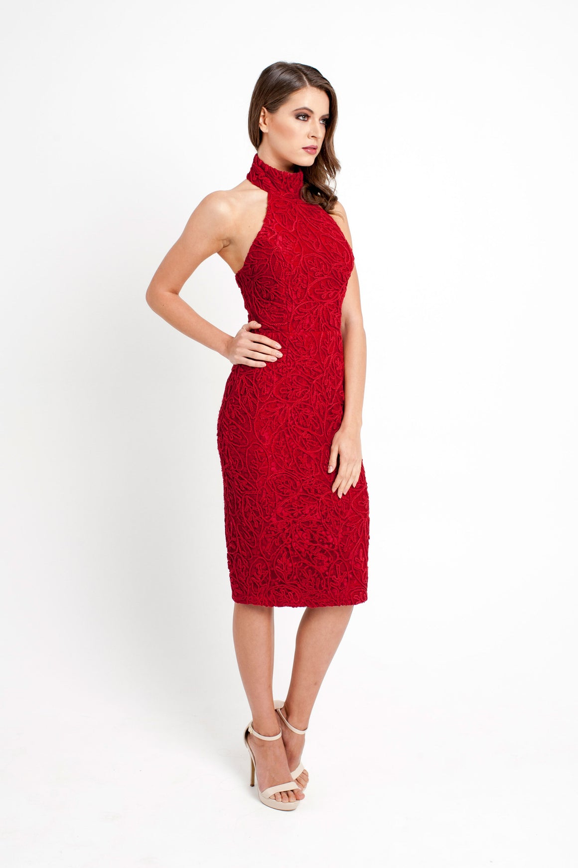 Sabine halter textured dress red