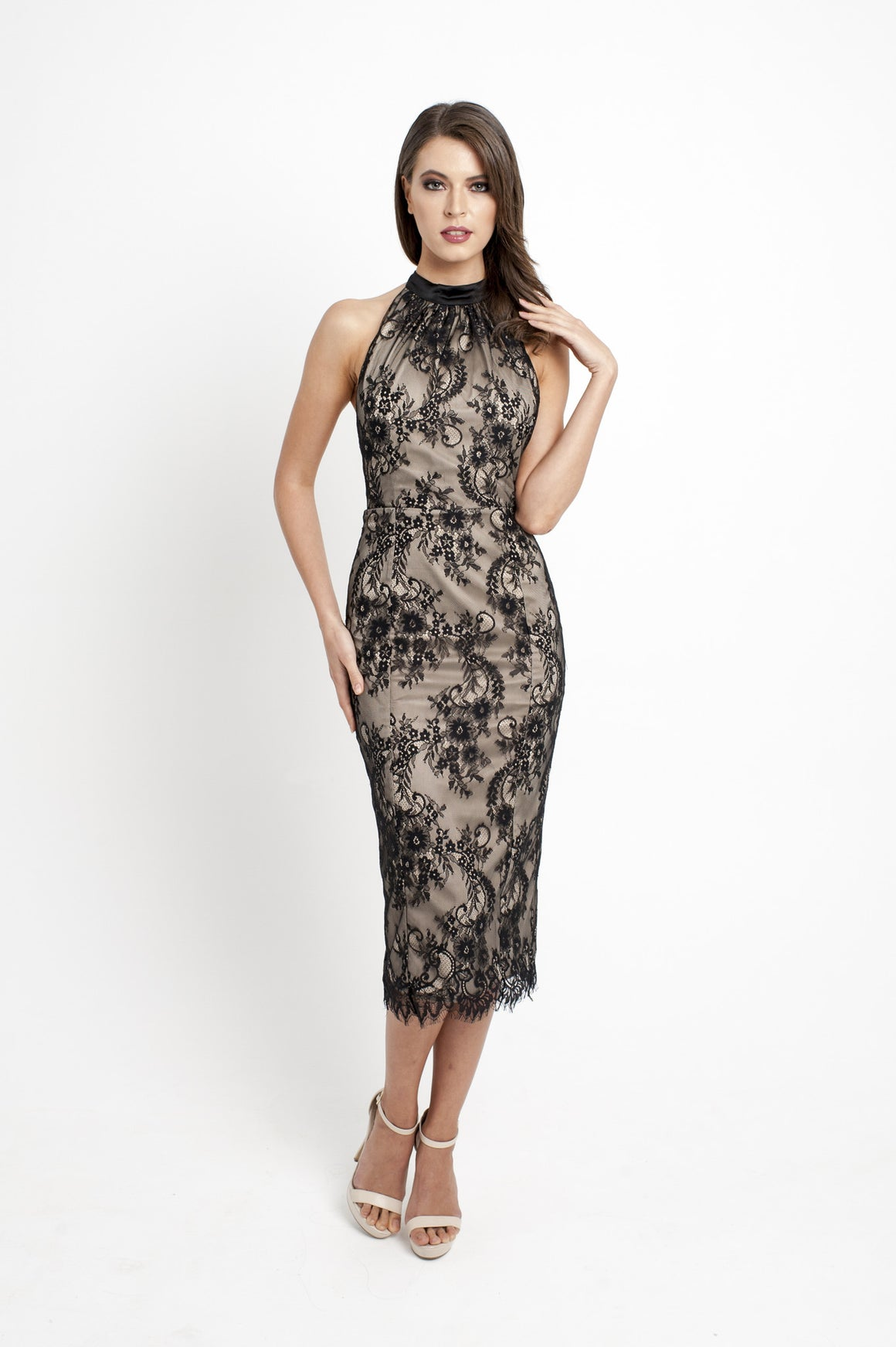 Lisa halter lace Dress- Black/nude
