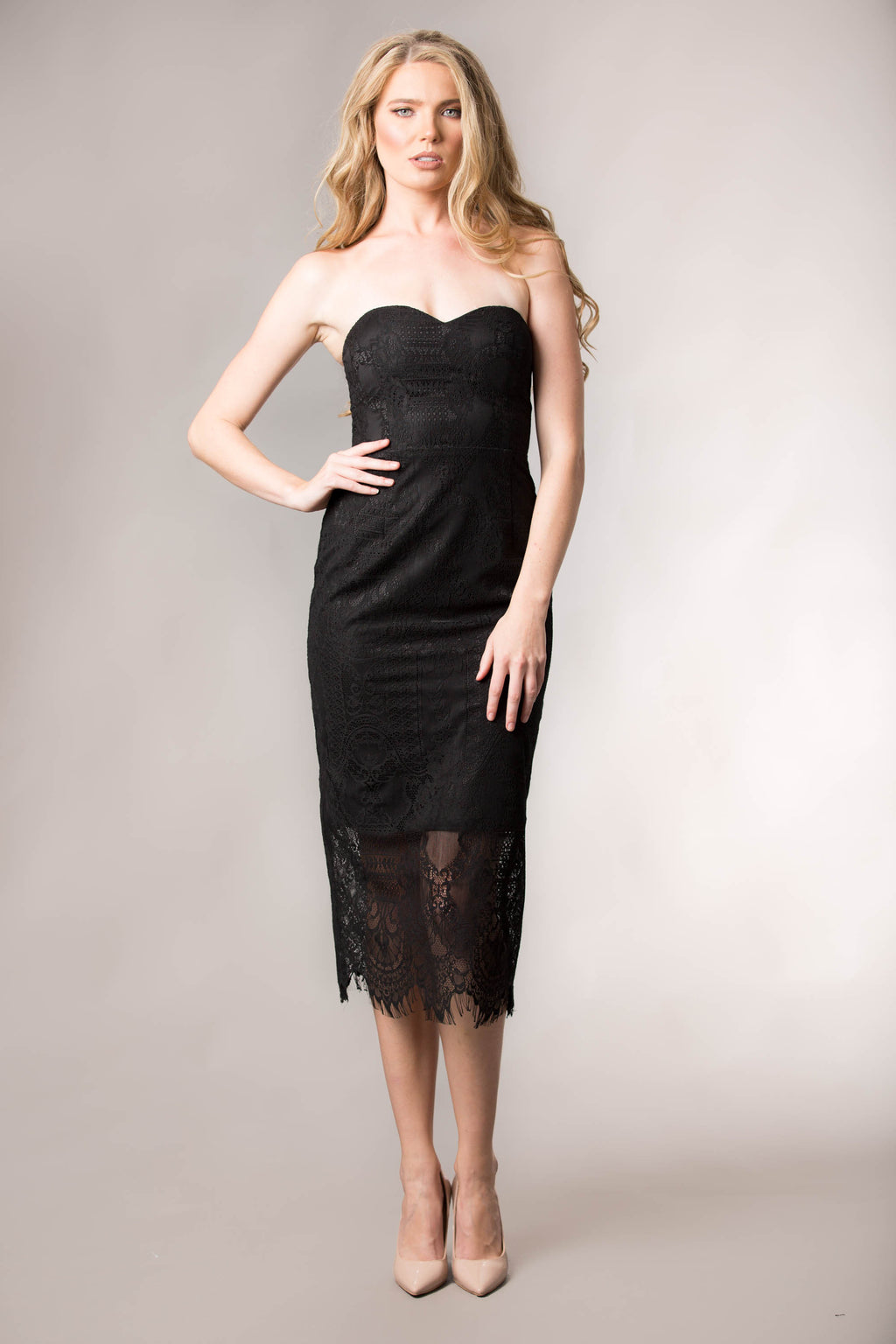 Mila lace Dress-Black