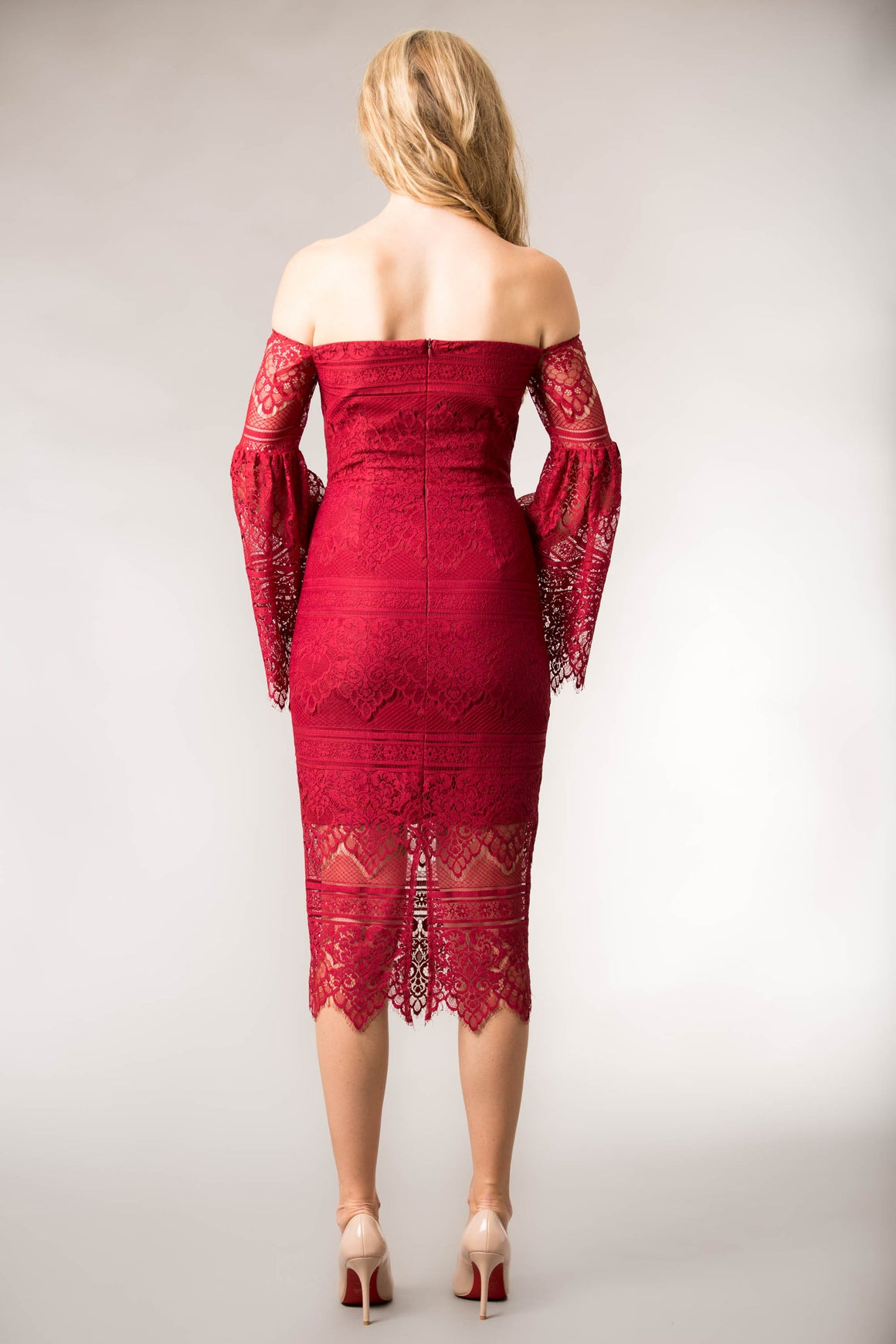 Belle Wine Lace Dress